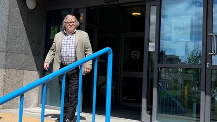 John Keogh leaves Croydon Magistrates Court in south London. Photograph: Jess Glass/PA Wire.