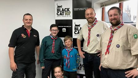 Simon Smith from Round Table, scout leaders are left – Trev Blocksidge, right Pete Wootton with Elli