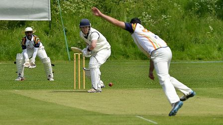 Alex Marsh on his way to a half-century for Buckden against Bharat Sports. Picture: DUNCAN LAMONT