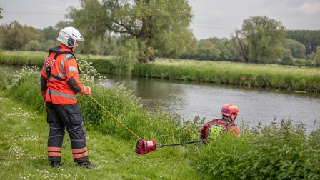 Firefighters from Black Watch carry out a water rescue