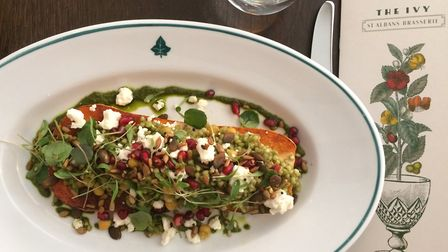 The Ivy Brasserie's roasted butternut squash with buckwheat, chickpeas, pumpkin seeds, pomegranate,