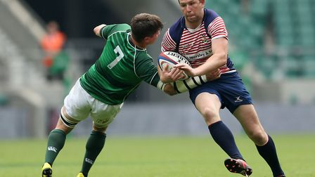 Lancashire's Chris Johnson and Hertfordshire's Nick Stevens during the Bill Beaumont Division One Cu