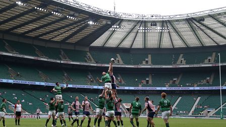 General View of a lineout during the Bill Beaumont Division One Cup Final match at Twickenham Stadiu