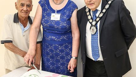 Harpenden Seniors Forum president Alan Cox, its chair Fiona Gaskell and town mayor David Heritage.