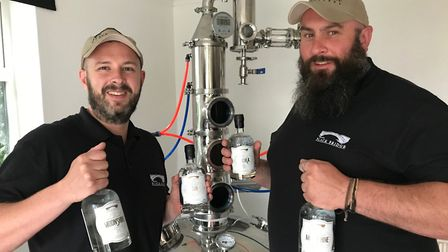 Left to right: Ashley McCallum and Luke Griggs at the distillery. Picture: Ashley McCallum