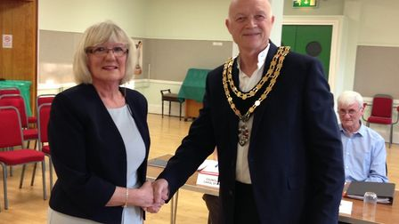 New Royston town mayor Iain Leggett with his predecessor Vera Swallow. Picture: Royston Town Council