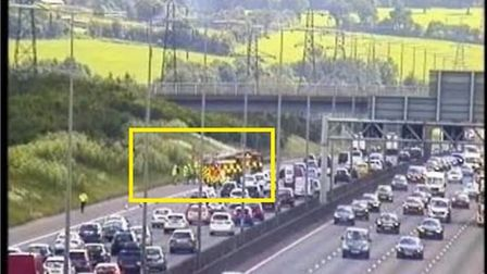 Firefighers tackled a vehicle fire on the M1 near St Albans. Picture: Highways England