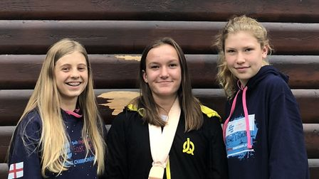 First Strokes swimmers, from the left, Chloe Butler, Jodie Elliott and Jessica Spavins.