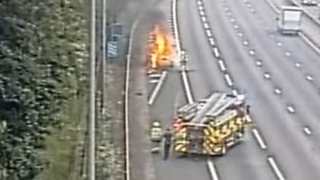 Fire on the M25 between junctions 22 and 21A. Picture: Highways England.