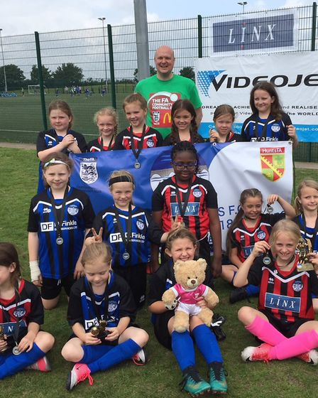 The two St Ives Rangers Under 9 girls teams who took part in the Football Festival.