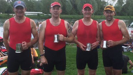 The successful St Ives Masters D quad are, from the left, Paul Ashmore, Pip Woodford, Tony Bennett a