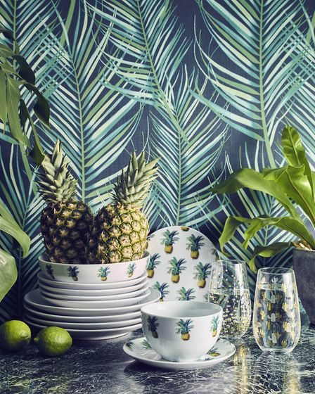 Pineapple print 12-piece dinner set, £20, George Home (Picture credit: George Home/PA Photo/Handout)