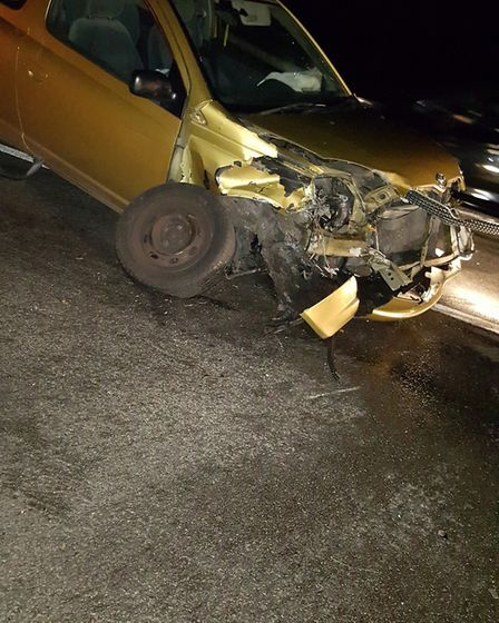 One of the car's involved in the A505 crash near the Odsey turning yesterday evening. Picture: Lesle