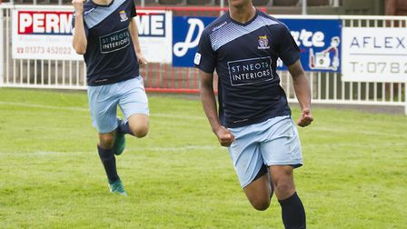 Dion Sembie-Ferris (front) and Dylan Williams (back) have both agreed to stay at St Neots Town next