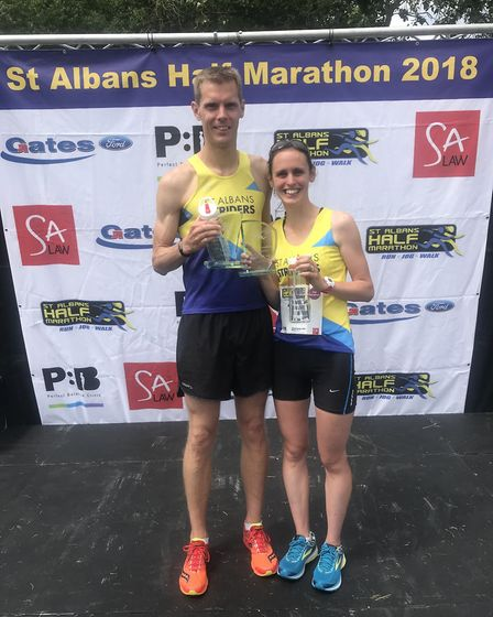St Albans Striders' Paul Adams and Heather Hann at the St Albans Marathon. Picture: Graham Smith