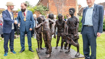 Ian Wolter, the sculptor, Mayor Paul Fairhust and Lord Alf Dubs. Picture: SAFFRON PHOTO