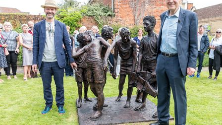 Ian Wolter, the sculptor, and Lord Alf Dubs. Picture: SAFFRON PHOTO
