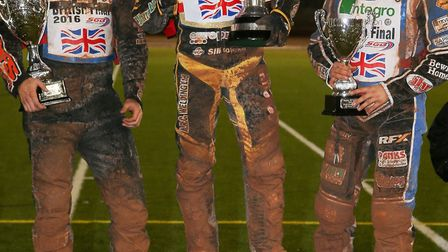 Danny King on the top step of the podium following his British Final success. Picture: JEFF DAVIES