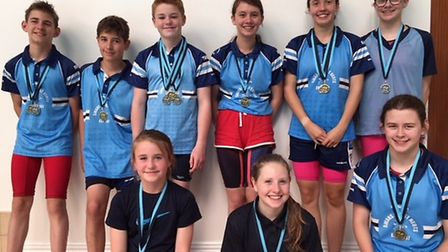 St Neots Swans medallists at the Cambs County Development Championships.