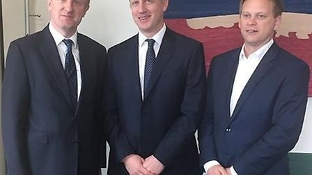 Oliver Dowden with rail minister Jo Johnson and Welwyn Hatfield MP Grant Shapps.