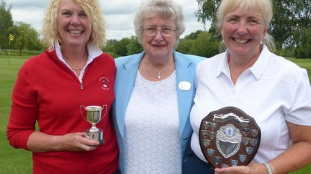 Ann Munro (left) and Alison Ord (right) with county president Maureen Mansfield.