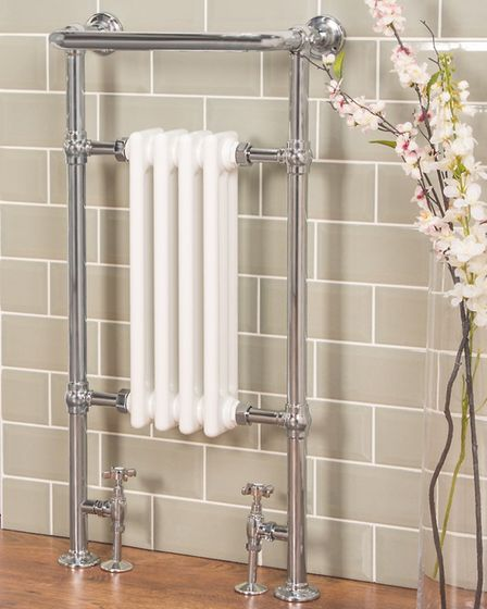 Salzburg traditional Victorian towel rail radiator combines chrome and white finishes; 149 at www.ba