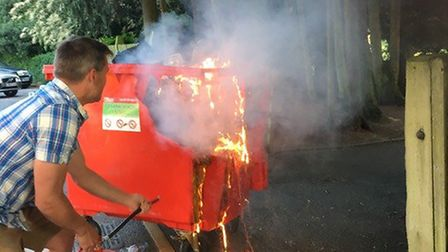 The Clarence Park fire was in a bin by the cricket pavilion. Picture: St Albans CC