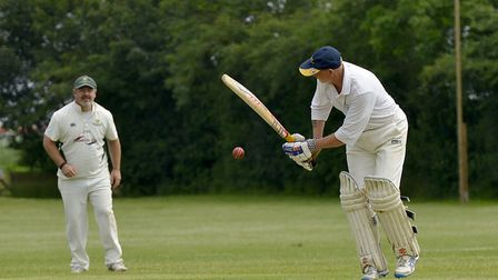 Brian Chapman at the crease for Sawtry in their Hunts League Division Two defeat to Biggleswade. Pic
