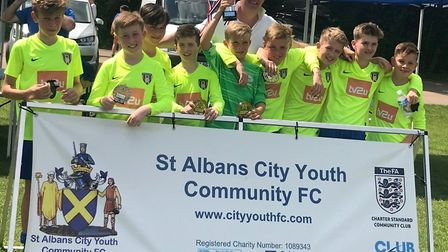 The Harvesters U12 Wildcats who won the St Albans City Youth six-a-side tournament.