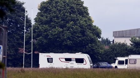 An unauthorised traveller encampment pictured in the north east of the county yesterday. Picture: Ia