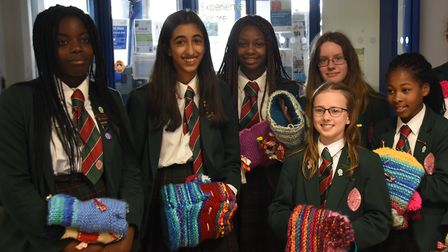 The knitting students at St George's School.