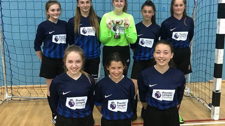 The St Ivo School Under 14 Girls team won their regional final in the FA Youth Futsal Cup. They are,
