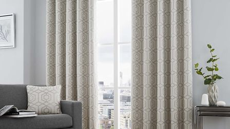Camberwell Ready Made Lined Eyelet Curtains Silver, currently reduced to £24.99 from £60 for 46'' x