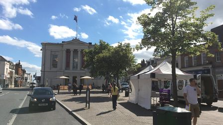 Trees outside the new St Albans Museum + Gallery