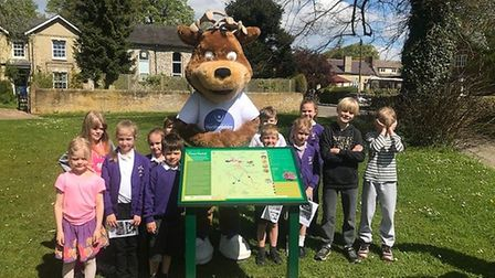 Therfield First School council were all invited to the unveiling. Picture: Therfield First School