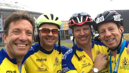 Members of the St Albans City Football Club cycle team.