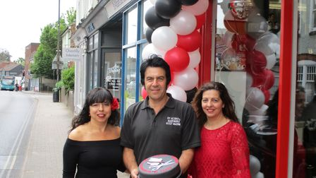 Maria, Vincenzo and Carmelina Citrano outside their shop on Catherine Street.