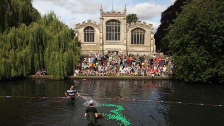 A Duck Race is held in Hitchin every year (St Mary's Church pictured)