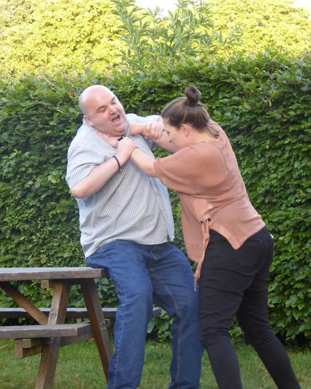 Susie Wyeth as Kate getting to grips with Danny Smith as Petruchio in The Taming of the Shrew. Pictu