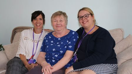 Clare Ghey, Hospice at Home Nurse, Chris, wife of Rennie Grove patient Ken, and Rebekha Bell, Hospic