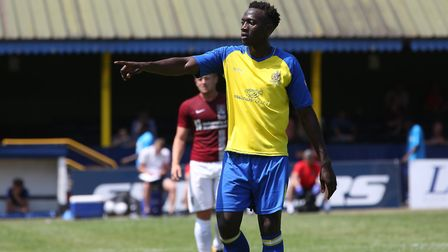 David Moyo of St Albans in the pre-season friendly match between St Albans City and Northampton Town