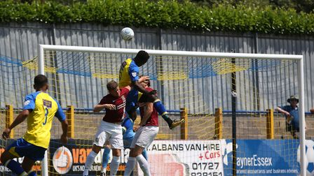 David Moyo of St Albans jumps to head the ball wide in the pre-season friendly match between St Alba