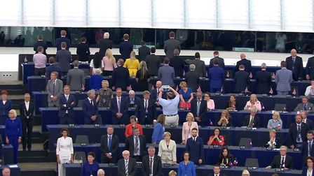 Brexit Party MEPs turn their backs during the European national anthem. Photograph: European Parliam