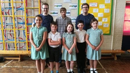 Pupils at Warboys Primary School with The Young'uns