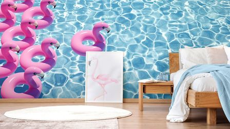 Make a splash in the bedroom: 'Flamingoes in pool' wall mural, from £26 per square metre, Wallsauce.