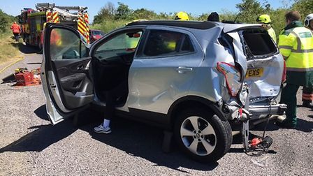 One of the vehicles involved in the crash on the A505 at Flint Cross. Picture: @Cambsfrs