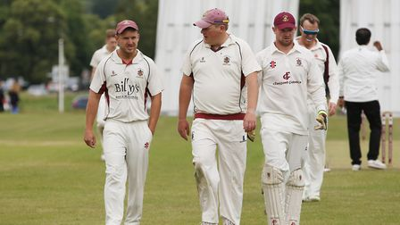 Harpenden during a drinks break in the match between Harpenden and Letchworth. Picture: DANNY LOO