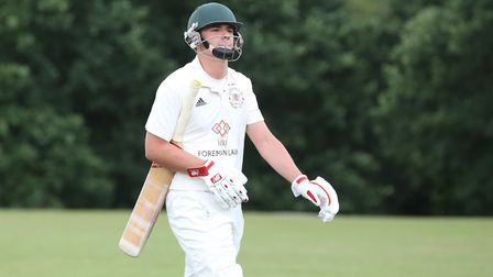 Letchworth Garden City's Tom Simmons walks off in the match between Harpenden and Letchworth. Pictur