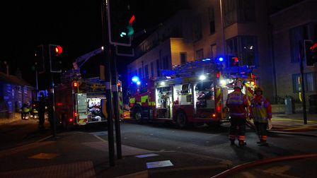 The fire at Elm Tree Court, in Huntingdon. Picture: ARCHANT