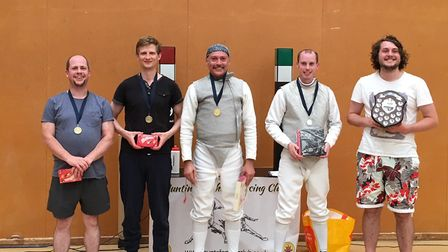 Jacques Portal (centre) is pictured with other fencers at the Suffolk Invitation Foil.